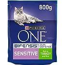 Purina ONE Sensitive Dry Cat Food Turkey & Rice 800g (Case of 4)