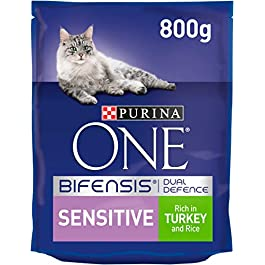 Purina ONE Sensitive Cat Food Turkey and Rice 800g – Case of 4 (3.2kg)