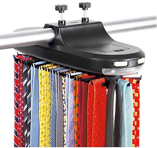 HALAWAKA Electric Motorised Tie Rack Automatic Revolving Tie Rack and Belt Rack Holds up to 64 Ties, Revolving Closet Organizer & Neck Tie Storage Caddy Display for Men's Accessories