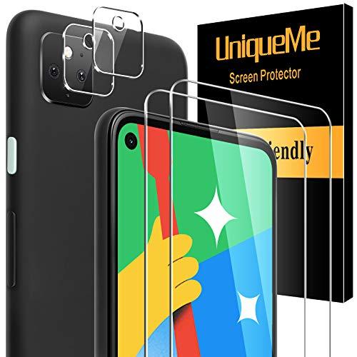 [4 pièces]UniqueMe compatible avec Google Pixel 4a 5G(Non applicable à Google Pixel 4a 4G) [2 pièces] Verre Trempé et [2 pièces] Caméra Arrière Protecteur, [Couverture maximale]9H Film Protection