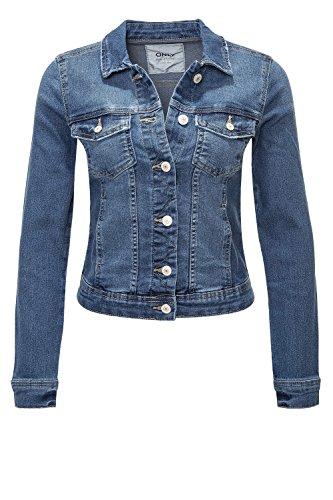 ONLY Damen Jeansjacke Übergangsjacke Leichte Jacke Denim Casual GE LESTA- Gr. S (36), Medium Blue Denim / 2