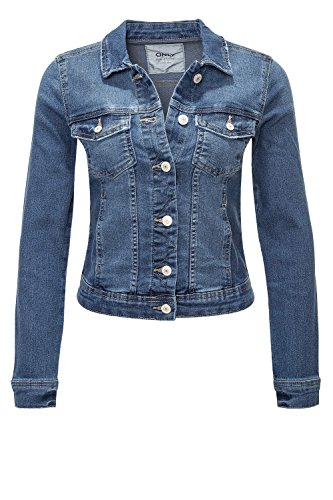 ONLY Damen Jeansjacke Übergangsjacke Leichte Jacke Denim Casual GE LESTA- Gr. L (40), Medium Blue Denim / 2