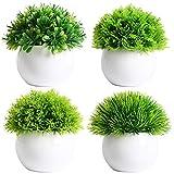 FEILANDUO Juego de 4 plantas artificiales en maceta, plantas falsas de bonsái, césped verde sintético, macetas de plástico blanco para decoración de escritorio al aire libre e interior (4)