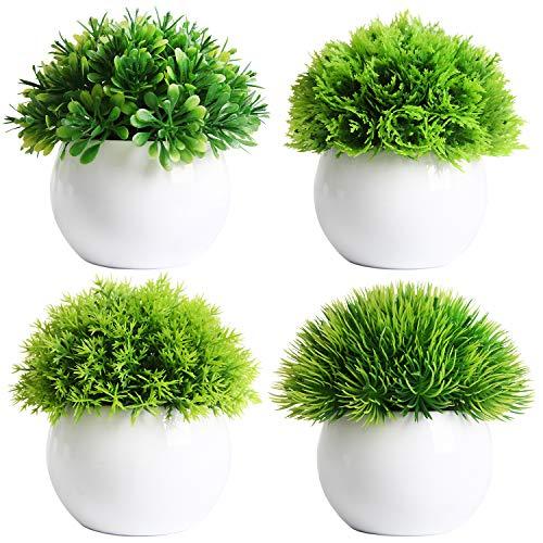 FEILANDUO Juego de 4 mini plantas artificiales en macetas de bolas de bonsái falsas plantas de...