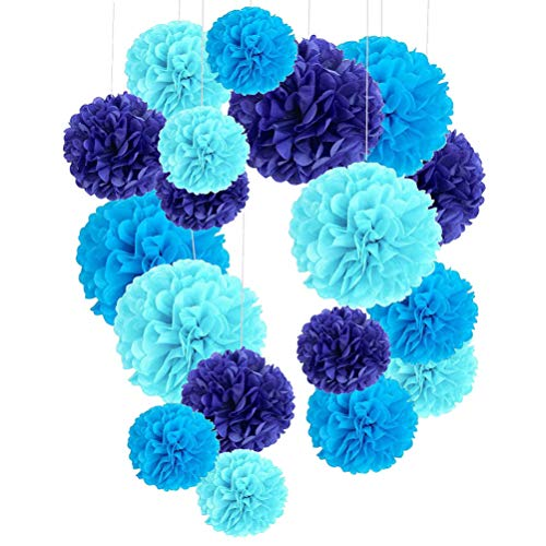 PRETYZOOM 18 Piezas de Papel Colgante de Papel Pompones Bola de Flores Decoración de Fiesta de Boda Papel de Seda Pompones para Centro Comercial Fiesta Hogar Cielo Azul