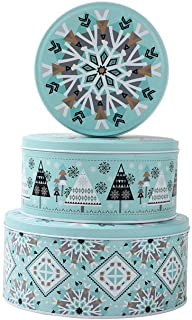 NEIGE Christmas Round Candy Cookie Tins For Gift Giving,Extra Thick Steel - Large, Medium and Small Sizes