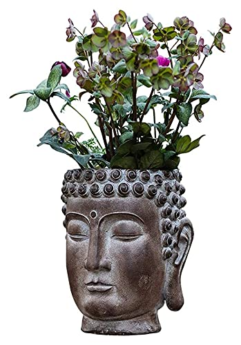 Escultura de escritorio Buda cabeza maceta olla escultura jardín Buda estatua busto...
