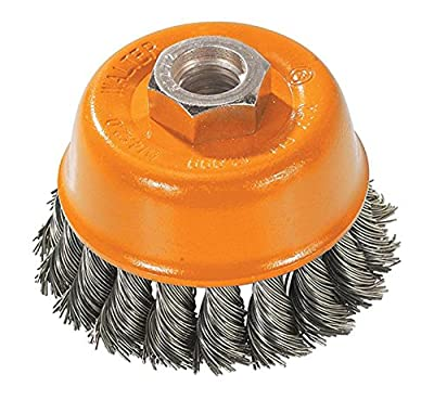 Walter 13F300 Wire Cup Brush - 3 in. Carbon Steel Knot Twisted Wire Cup - Power Brush with Threaded Hole. Surface Finishing Tools