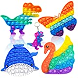 QETRABONE 5 Pack Pop Fidget Toys, Rainbow Dinosaur Swan Push Bubble Fidget Toys Pop Sensory Toy Squeeze Toys Set for Anti-Anxiety Stress Relief Toy for Girl Kids Autism(Animals 5pack)