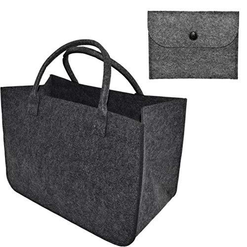 XL Filztaschenset Einkaufstasche · Inklusive Minitasche aus Filz · Henkeltasche aus Filz · Shopping Bag · Einkaufskorb mit Henkel · Shopper (Dunkelgrau)