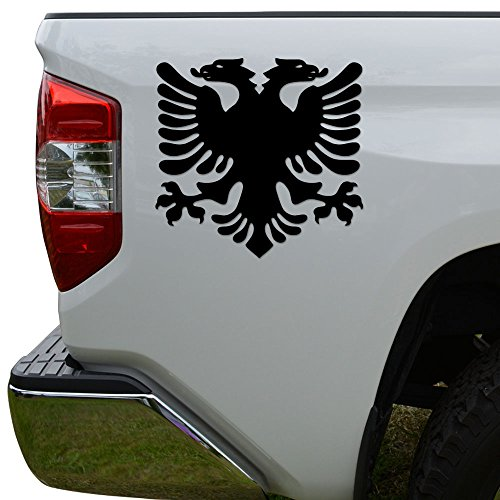 Albanian Flag Eagle Die Cut Vinyl Decal Sticker For Car Truck Motorcycle Window Bumper Wall Decor Size- [6 inch/15 cm] Wide Color- Matte Black
