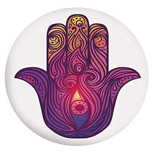 Mantel elástico resistente a las manchas, diseño floral vívido, símbolo de Aura Energy Flow Harmony Health Doodle, apto para mesas redondas de 40 a 44 pulgadas, para decoración de mesa, color violeta