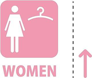 女性 専用 試着 フィッティング 更衣室 案内 シール ステッカー カッティングステッカー (WOMEN テキスト・矢印付き) 光沢タイプ・防水 耐水・屋外耐候3~4年【クリックポストにて発送】 (ピンク, 100)