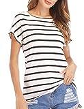 Haola Women's Striped Tops Summer Casual Round Neck Short Sleeve Blouse T-Shirt Black White Stripe M