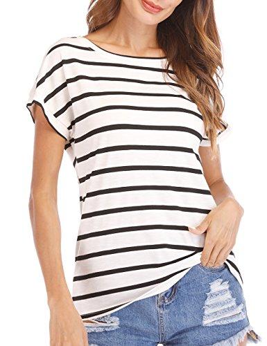 Haola Women's Striped Tops Summer Casual Round Neck Short Sleeve Blouse T-Shirt Black White Stripe S