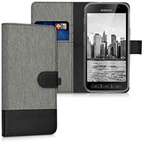 kwmobile Wallet Hülle kompatibel mit Samsung Galaxy Xcover 4 / 4S - Hülle mit Ständer - Handyhülle Kartenfächer Grau Schwarz