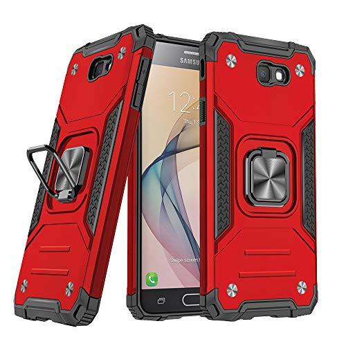 DASFOND Galaxy J7 Prime/On7 2016 Cover, Grado Militare Custodia con Cavalletto in Metallo Rotante a 360° [Supporto Montare a Magnete], Compatibile con Samsung J7 Prime/On7 2016, Rosso