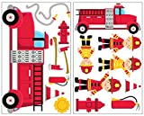 Samunshi 17x Wandtattoo Feuerwehr Set Wandbilder Kinderzimmer Deko Junge Wandtattoo Kinderzimmer Mädchen Wandsticker Kinderzimmer 2X 16x26cm
