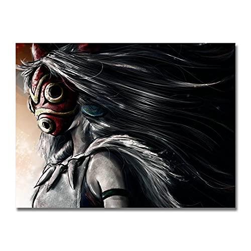 xinxinxiangrong Póster de película de Dibujos Animados de la Princesa Mononoke Ghibli, póster de Pintura en Lienzo para la decoración del hogar de Roma Viva A355 50 × 70cm sin Marco