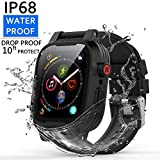[Waterproof Case for 38mm] YOGRE 38mm Waterproof Watch Case with IP68 and Resilient Shock Absorption for 38mm Apple Watch Series 3 and 2 with 2 Soft Silicone Watch Band - Black
