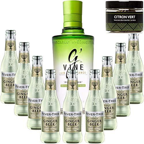 Paquete Gintonic - G'Vine + 9 Fever Tree Ginger Beer Agua - (70cl + 9 20cl *) + Pot 20 rodajas de limón verde secaron