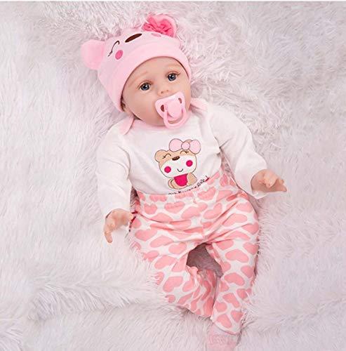 YHX Reborn Babypuppe, Lebensechtes Silikon-Neugeborenes Mit Wunderschönem Kleid, 22-Zoll-Puppen, Die Echt Aussehen, Alzheimer-Geschenke, Geburtstagsgeschenke