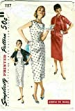 Simplicity 1117 Misses One-piece Slender Dress and Jacket Sewing Pattern, Size 12, Bust 30, Vintage Rockabilly