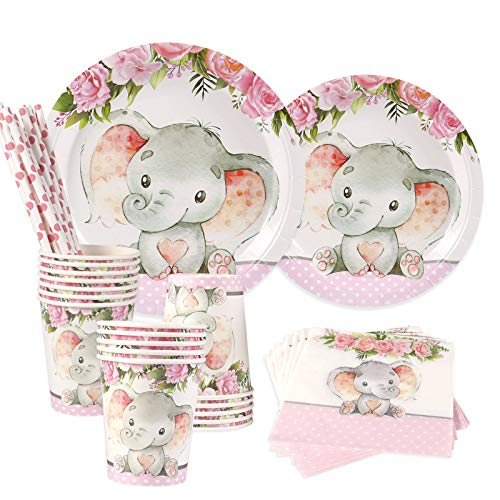 Elephant Baby Shower | Serves 24 | Pink Elephant Party Supplies Decorations | Elephant Baby Shower or Birthday for Little Girl | Dinner Plates, Dessert Plates, Cups, Straws and Napkins