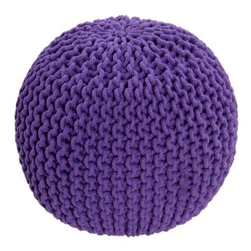 Homescapes Sitzhocker Strickpouf rundes lila Bodenkissen Strick Sitzpuff 35 x 40 cm, Strickhocker mit grob gestricktem Bezug aus 100% Baumwolle, Füllung aus 100% Polystyrol, violett…