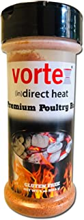 Genuine Vortex (in)Direct Heat Brand Premium Poultry Rub Chicken Seasoning for Weber Kettle, BGE, Kamado, WSM, Charcoal BBQ, smoker pellet grill and Chicken Wings