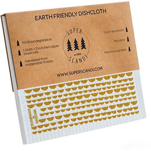SUPERSCANDI Schwamm-Reinigungstücher, Mondgelb, 5 Stück (3 gemustert, 2 weiß), umweltfreundlich, wiederverwendbar, nachhaltig, biologisch abbaubar