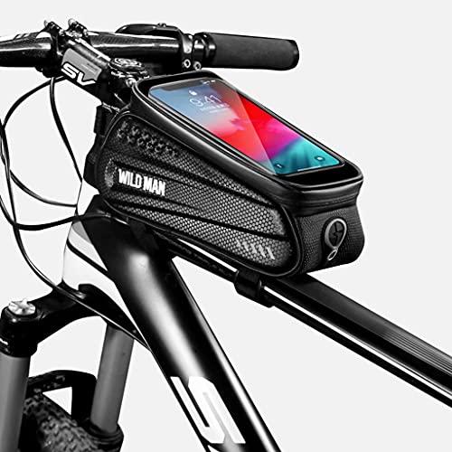 Bolsa Teléfono Bicicleta, pantalla táctil impermeable marco de ciclismo de montaña paquete de manillar de tubo superior, bolsa de sillín de bicicleta portátil para exteriores,Negro,22×8×8.5cm