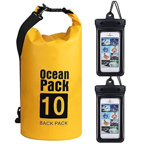 flintronic Sac Étanche, 10L Sac Étanche à l'épaule, IP66 Sac Étanche à Sangles, pour Kayak Bateau Canoeing Camping Piscine Rafting Voile Pêche (Incluse 2PCS Sac Étanche pour Téléphone Portable)