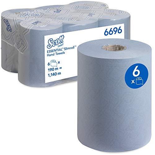 Scott Essential Papierhandtuchrollen für Spender, Slimroll, Airflex*-Technologie, 1-lagig, 6 x 190 m, blau, 6696