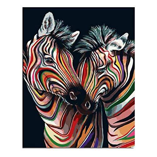 WZZPSD Puzzle 1000 Pezzi Due Zebre Colorate Salotto Puzzle in Legno Fai da Te Stile Regalo per La Casa