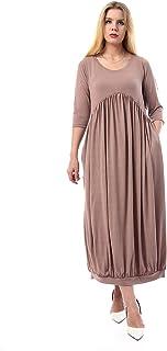 فستان سادة بأكمام للكوع للنساء من القاضي - كافيه