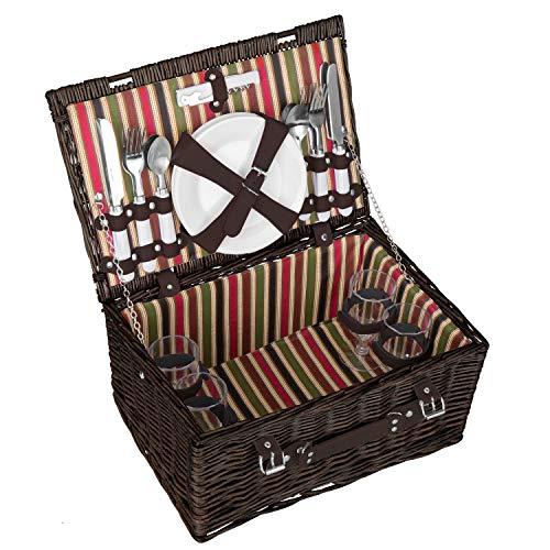 anndora Picknickkorb 4 Personen Weidenkorb dunkebraun, rot grün Innenstoff + Zubehör 21 teilig