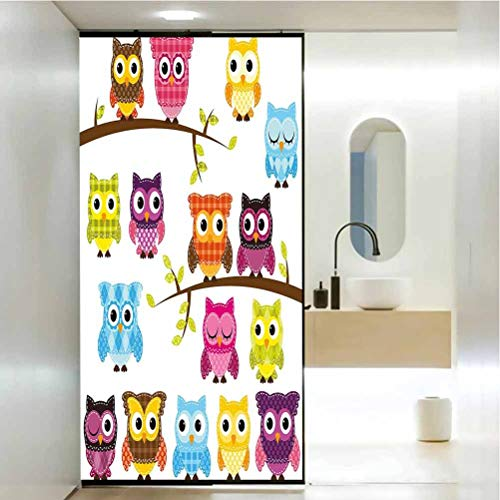 Decorativas de privacidad para ventanas de cristal, juego de colcha de patchwork estilo búhos en ramas, decoración de baño para el hogar, baño, 23.6 x 47.2 pulgadas