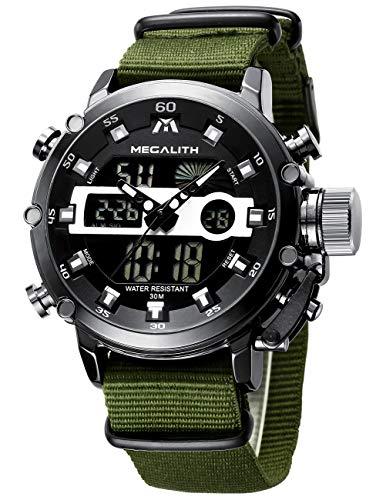 MEGALITH Relojes Hombre Digitales Militar Relojes Grandes LED Reloj de Pulsera Analogico Digital Deportivo Relojes de Hombre Nylon Impermeable Electrónico Cronometro Calendario - Verde Negro