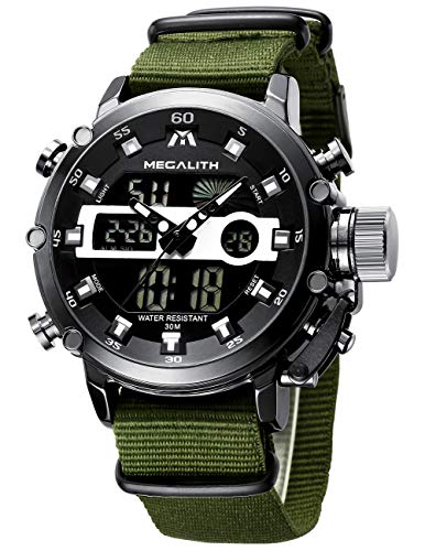 MEGALITH Mens Watches with Nylon Waterproof Digital Military Sport Tactical Multifunction Heavy Duty Led Black Watch for Men, Alarm Stopwatch