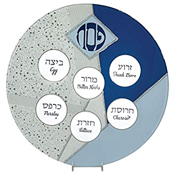 Rite Lite Blue Glass Passover Seder Plate with Silver Glitter Accents For Pesach