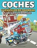 Coches y vehículos de colorear Libro para Niños de 4 a 8 Años: 50 imágenes de autos,...
