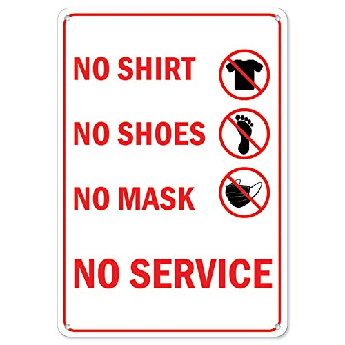 Public Safety Sign - No Shirt No Shoes No Mask No Service All Red   Plastic Sign   Protect Your Business, Municipality, Home & Colleagues   Made in The USA