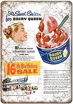 FQDIQI Dairy Queen Ice Cream Vintage Ad 12  x 16  Retro Look Metal Sign for Home bar etc,Also as a Gift