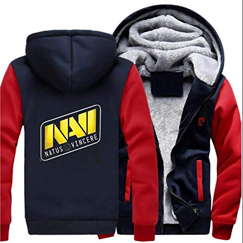 CZ-SQG Hoodie Fleece Cardigan Zipper Starke mit Kapuze Strickjacke-Mantel-Kleidung DOTA2 Navi dend Tops Winter warm (Color : B, Size : X-Large)
