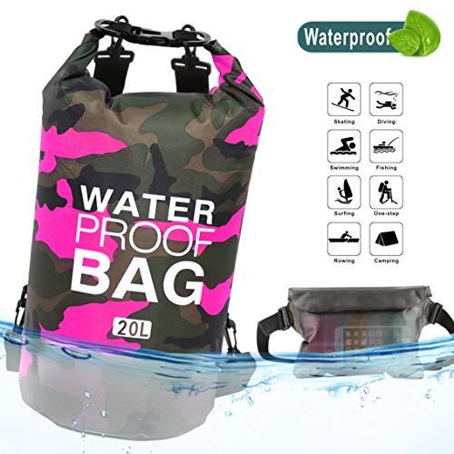 Idefair Wasserdichter Packsack, Schwimmender Trockenrucksack Strandtasche Leichter Trockensack für den Strand, Bootfahren, Angeln, Kajakfahren, Schwimmen, Rafting, Camping 10L 20L (Rose, 20L)