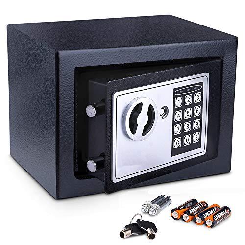 Meykey Cassaforte Elettronica, Cassaforte Piccola,2 Chiave per apertura d emergenza,23 × 17 × 17 cm, Nero