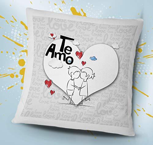 OyC Original y Creativo Cojín Personalizado con Texto, Detalle Bonito, Grabado de Calidad, 40x40, San Valentin, Regalo Parejas, Amor, Love (TE Amo Corazon)