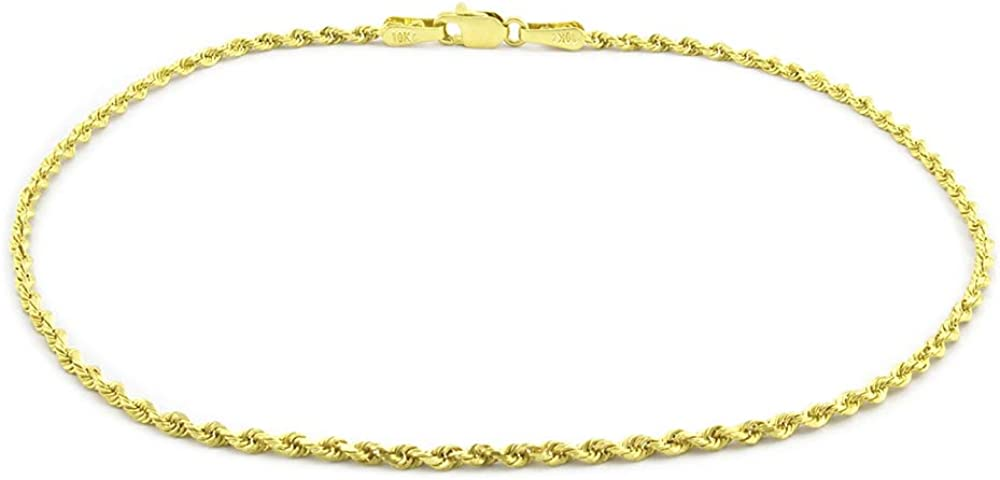 Nuragold 10k Yellow Gold 1mm Solid Rope Chain Diamond Cut Bracelet or Anklet, Womens Jewelry Lobster Lock 7