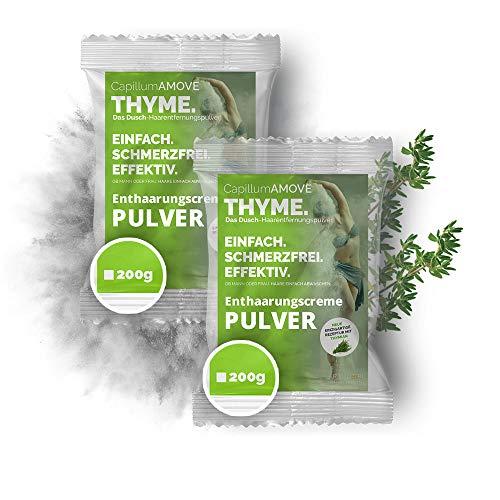 Sparpaket 400g schmerzfrei & geruchlos Haarentfernungscreme Pulver mit natürlichen Kräutern Thymian - Capillum AMOVE Thymian für Mann & Frau